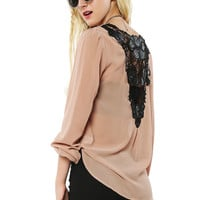 Papaya Clothing Online :: BACK LACY CHIFFON WRAP DRESSY TOP