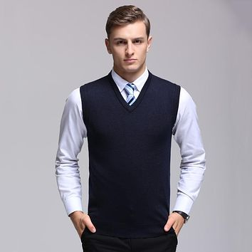 New Arrival Brand Men's Thin Solid Color Wool Pullover Vest Winter Fashion Casual Hooded V-Neck Sleeveless Wool Sweaters Vest