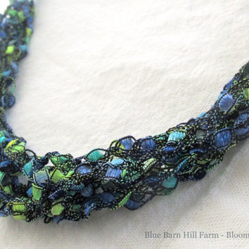 Blue and Green Ladder Necklace - Soft and Luxurious Look