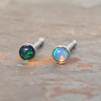 Light Turqoise Blue and Black Fire Opal Nose Bone Ring Stud