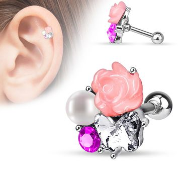 C.Z. Pearl Fimo Flower Cluster Tragus Barbell 16G (1.2mm)