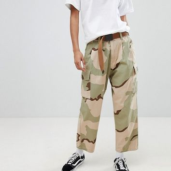 Obey Relaxed Cargo Trousers In Camo With Pockets at asos.com