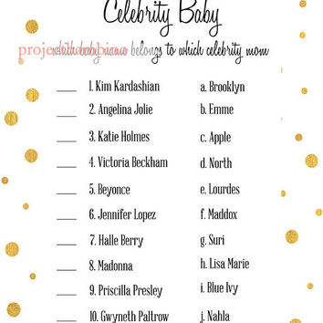 Gold and White Celebrity Baby Shower Game in white and gold celebrity name match baby shower printable digital file