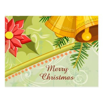 Abstract Golden Mint Christmas Postcard