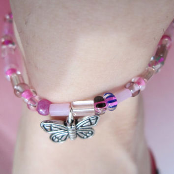 Butterfly Anklet with Pink Glass Seed Beads