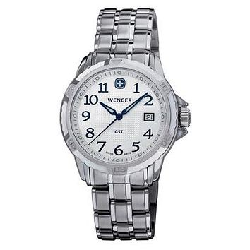 Silver Dial Wenger Mens GST Bracelet Watch - Stainless Steel - Date