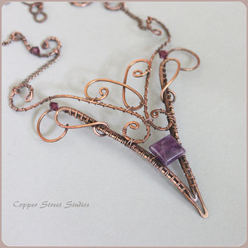 Copper Wire Necklace, Copper Necklace, Copper Art Necklace Wire Wrapped Jewelry Handmade Amethyst Copper Jewelry Wire Copper Art Jewelry