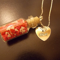 Sweet Hearts Fairy Jar Necklace by cmarie59405 on Etsy
