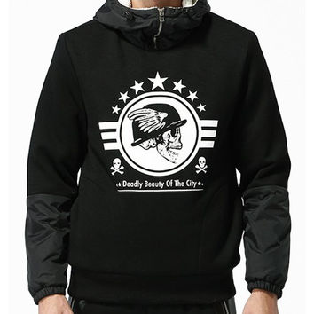 Hooded Skull Print Fabric Splicing Long Sleeve Thicken Cotton Blend Hoodie For Men