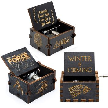 25 Style New Black Music Box Game Of Thrones  Star Wars Beauty And The Beast Hand Cranked Theme Music Birthday Gifts