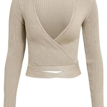 Wrapping Things Up Long Sleeve Ribbed Cross Wrap V Neck Tie Waist Crop Sweater - 3 Colors Available