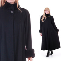 Black Wool Swing Coat with Faux Fur Trim Long A-Line Minimalist Goth Warm Winter Vintage Outerwear Made in the USA Womens Size Large XL