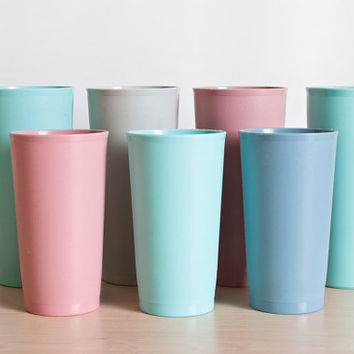 1980's Tupperware Muted Pastel Tumblers, Plastic Juice Cups, Pink Gray Mint Blue, Set of 7