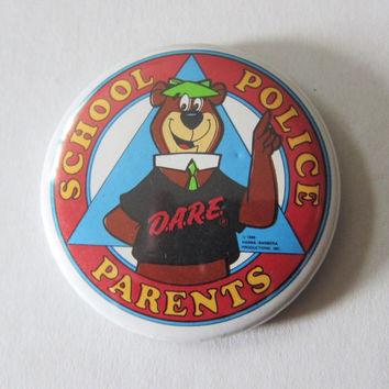 "80s Yogi Bear DARE Pinback Button - ""School Police Parents"" Kitsch Cartoon Pin"