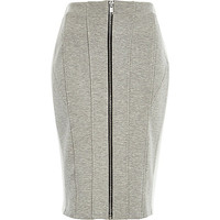 River Island Womens Grey panelled zip front pencil skirt
