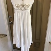 Free People White Embroidered Strapless Dress Size XS/TP