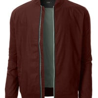 LE3NO Mens Lightweight Classic Zip Up Bomber Jacket with Pockets (CLEARANCE)