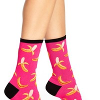 Women's Hot Sox 'Bananas' Crew Socks , Size 9/11 - Pink (3 for $15)