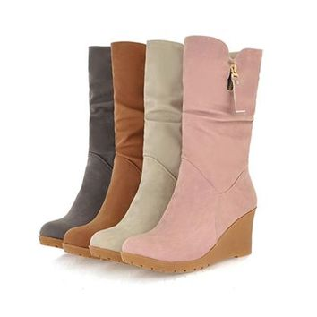 Womens Charming Wedge Heel Boots