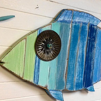 Fish Wall Art Sign Beach House Sea Glass Colours Decor by CastawaysHall - Ready to Ship