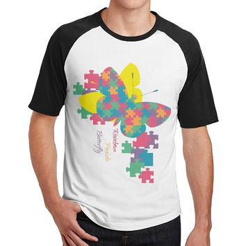 Autism Awareness Rainbow Puzzle Butterfly offensive t shirt mens 3/4 Sleeve Raglan design