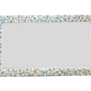 Mirror for Bathroom Vanity, Large Mosaic Wall Mirror, Beach House Decor