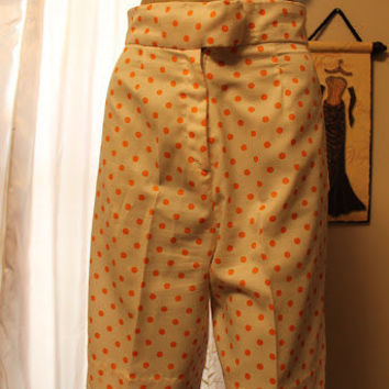 70s High waist coolots orange polka dot on white long flare shorts Howard Wolf prep