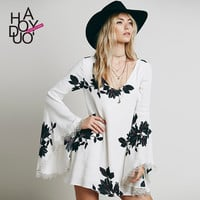 retro ink print dress hollow out lace flare sleeve dresses chiffon women dress