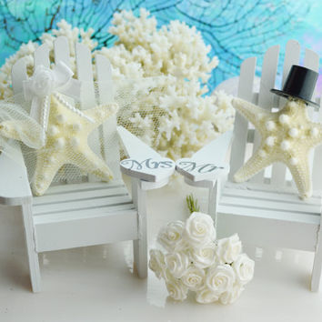 I Do ~ Wedding Cake Topper ~ Miniature Adirondack Chairs ~ Knobby Starfish Bride/Groom ~ Beach Wedding ~ Cake Topper