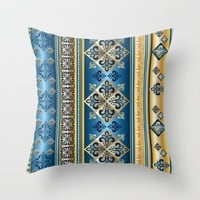 Blue and Gold Fleur de Lis Pattern Throw Pillow by Robin Curtiss