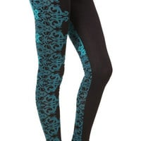 Black and Teal Floral Leggings Design 497