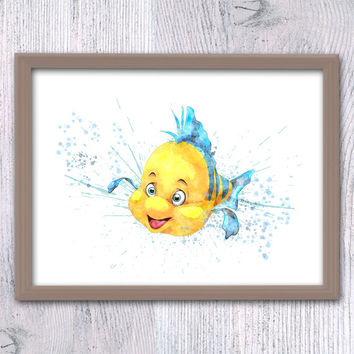 Disney Flounder watercolor print Flounder art poster The Little Mermaid print Disney wall decor Nursery room wall art Kids room decor V99
