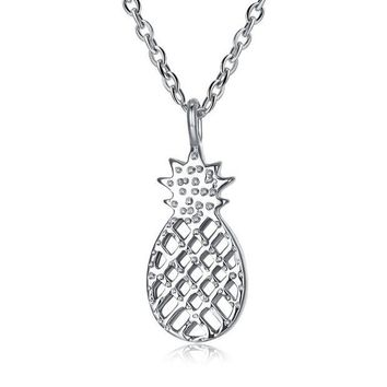 VOND4H 925 Sterling Silver Small Pineapple Pendant Necklace