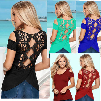 Hollow Out Lace Patchwork Irregular Scoop Sexy T-shirt