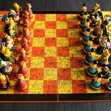 Homer Bart Simpson Doll Chess Puzzle Game Color Cartoon Character Child Chess