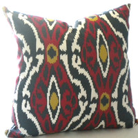 Bohemian Chic Decorative Designer Pillow, Ikat print pillow cover - toss pillow throw pillow