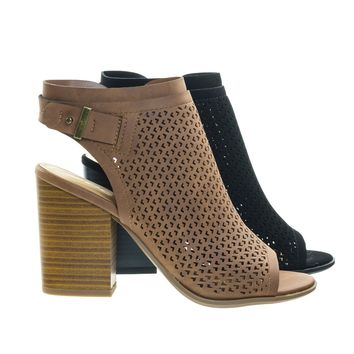 Jamal Stack Block Heel Perforated Pattern Shootie, Western Bootie Sandal