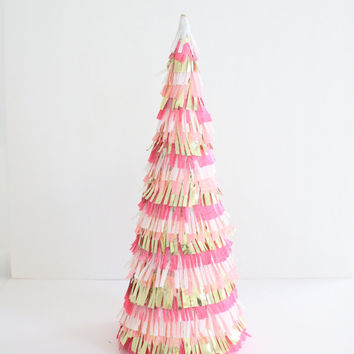 Pink Christmas Tree Cone Decoration - Christmas Decoration, Mantel Decoration, Pink Fringe Decor, Centerpiece, Christmas Ornament