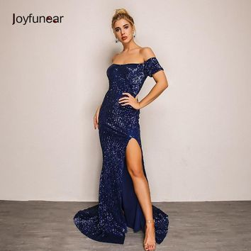 Joyfunear New Mermaid Summer Autumn Maxi Dress Elegant Vestidos Mujer 2018 Sequin Bodycon Dress Sexy Party Dresses Women Clothes