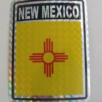 "New Mexico Flag Reflective Sticker 3""x4"" Inches Adhesive Car Bumper Decal"