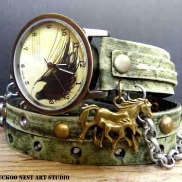 Horse Wrap Watch. Leather Wrap Watch. Vintage Inspired Leather Watch, Womens Watch, Watch, Womens Gift. Bracelet Watch, Distressed Green