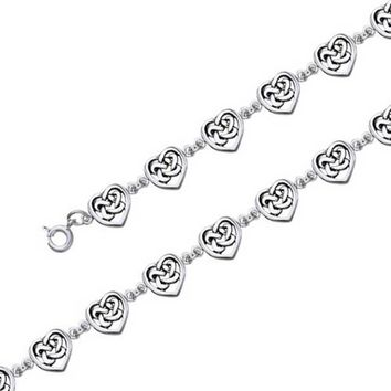 BFF Love Knot Celtic Heart Bracelet Oxidized 925 Sterling Silver