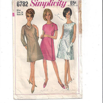 Simplicity 6782 Pattern for Misses' 1 Piece A Line Dress, Size 14, 3 Sleeve Treatment, From 1966, Vintage Pattern, Home Sewing Pattern