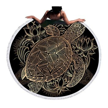 BeddingOutlet Turtles Bohemian Tassel Tapestry Flower Round Beach Towel Large for Adults Toalla Blanket Yoga Mat