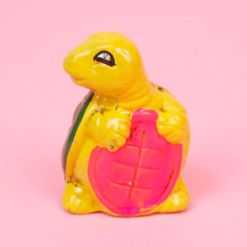 Vintage Tiny Yellow Turtle Piggy Bank / 60s 70s Kitsch