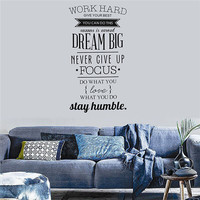 Wall Decals Quotes Work Hard Vinyl Wall Sticker Office Bedroom Living Room Home Decor
