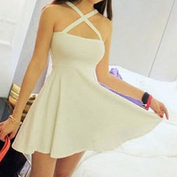 White Criss-Cross Skater Dress