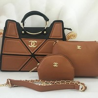 Chanel Women Leather Handbag Tote Shoulder Bag Clutch Bag Cosmetic Bag Set Three-Piece