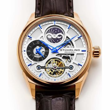 MD Original Men's Legacy Automatic Skeleton Brown Leather Strap Watch