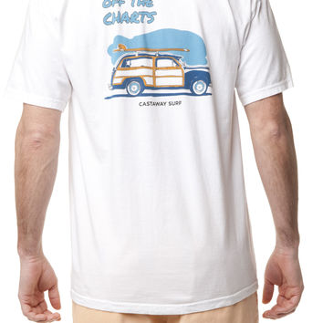 Beach Tee White With Old School Woody Surfboard